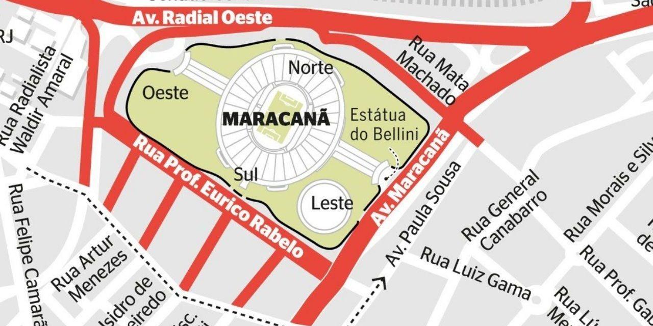 Mapa completo das interdições no Maracanã